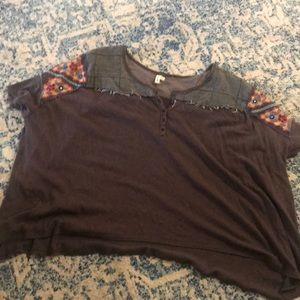 We the free people patchwork Henley tee sz L